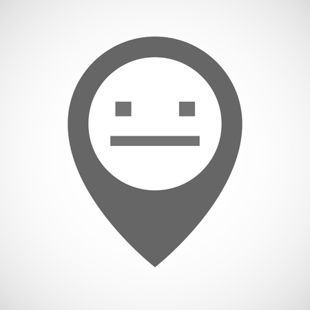 emotionless: Illustration of an isolated map marker with a emotionless text face Illustration