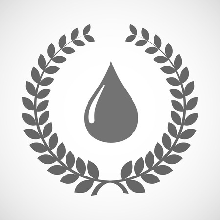 Illustration of an isolated laurel wreath icon with a fuel drop