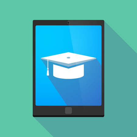university application: Illustration of a long shadow tablet pc icon with a graduation cap