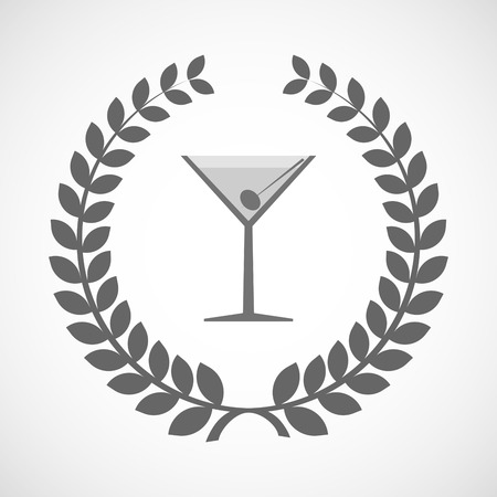 vermouth: Illustration of an isolated laurel wreath icon with a cocktail glass