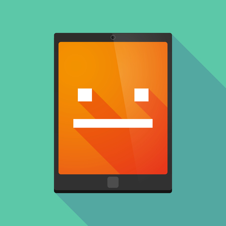 emotionless: Illustration of a long shadow tablet pc icon with a emotionless text face