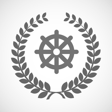 dharma: Illustration of an isolated laurel wreath icon with a dharma chakra sign