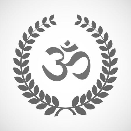 Illustration d'une icône de couronne de laurier isolé avec un signe om Vecteurs