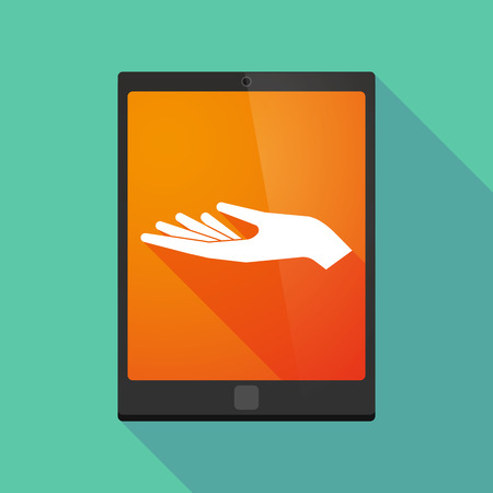 tablet pc in hand: Illustration of a long shadow tablet pc icon with a hand offering
