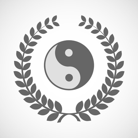 karma design: Illustration of an isolated laurel wreath icon with a ying yang