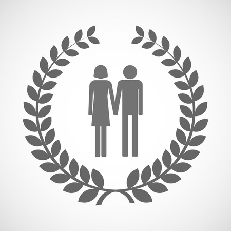 heterosexual couple: Illustration of an isolated laurel wreath icon with a heterosexual couple pictogram