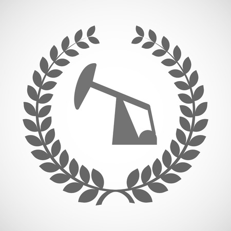 horsehead pump: Illustration of an isolated laurel wreath icon with a horsehead pump