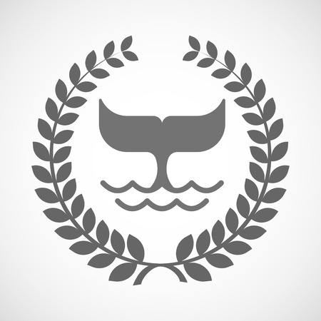 crown tail: Illustration of an isolated laurel wreath icon with a whale tail