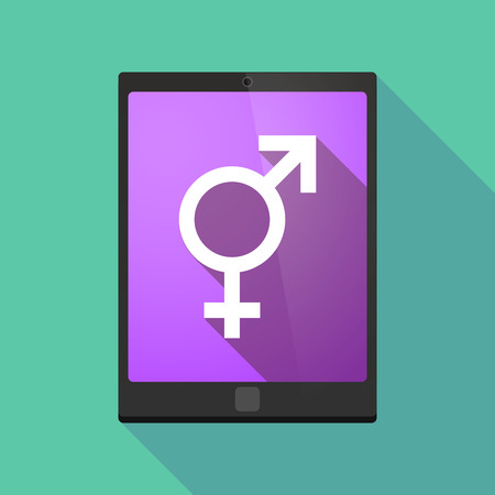 homosexual sex: Illustration of a long shadow tablet pc icon with a bigender symbol