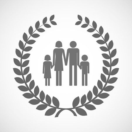 family isolated: Illustration of an isolated laurel wreath icon with a conventional family pictogram Illustration