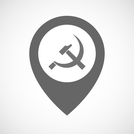 communist: Illustration of an isolated map marker with  the communist symbol