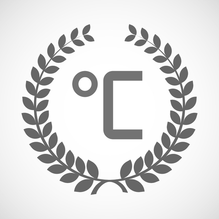 celsius: Illustration of an isolated laurel wreath icon with  a celsius degree sign