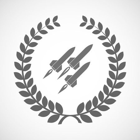 missiles: Illustration of an isolated laurel wreath icon with missiles