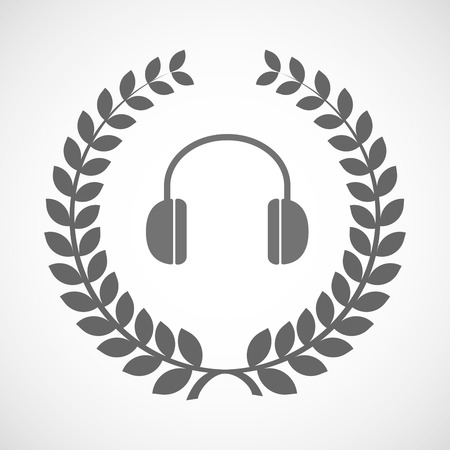 earphones: Illustration of an isolated laurel wreath icon with a earphones Illustration