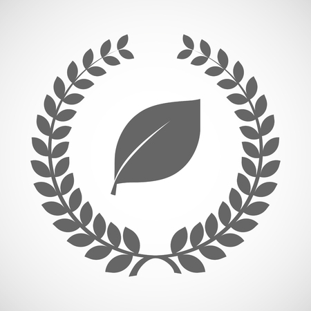 laurel leaf: Illustration of an isolated laurel wreath icon with a leaf