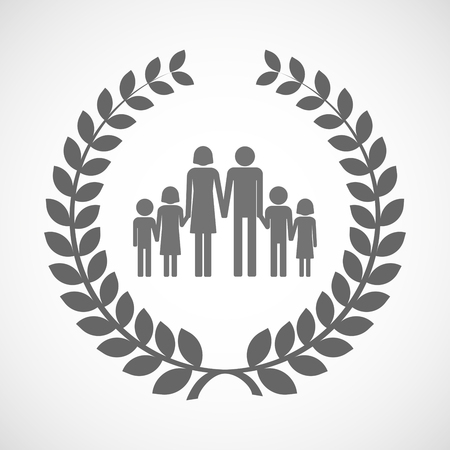 large family: Illustration of an isolated laurel wreath icon with a large family  pictogram