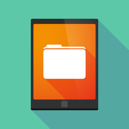 long: Illustration of a long shadow tablet pc icon with a folder