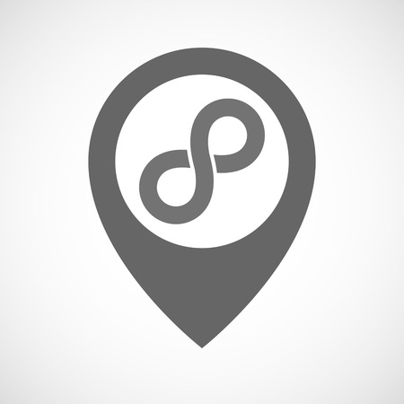 mobius loop: Illustration of an isolated map marker with an infinite sign