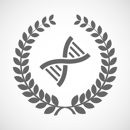 transgenic: Illustration of an isolated laurel wreath icon with a DNA sign