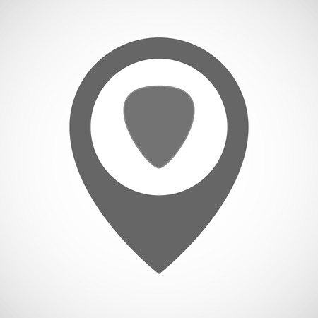plectrum: Illustration of an isolated map marker with a plectrum
