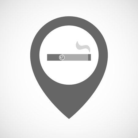 smoking place: Illustration of an isolated map marker with an electronic cigarette
