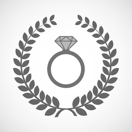 winning proposal: Illustration of an isolated laurel wreath icon with an engagement ring