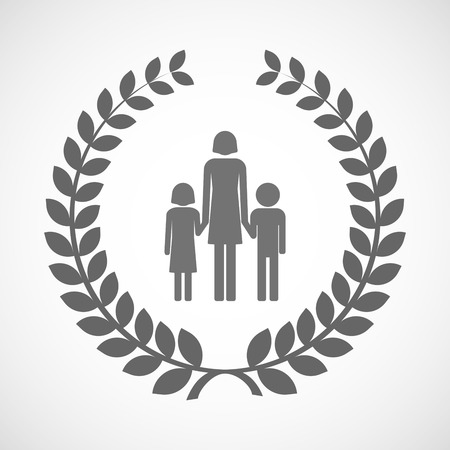single family: Illustration of an isolated laurel wreath icon with a female single parent family pictogram