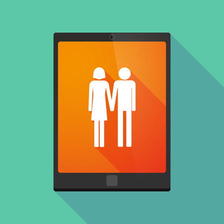 heterosexual: Illustration of a long shadow tablet pc icon with a heterosexual couple pictogram Illustration