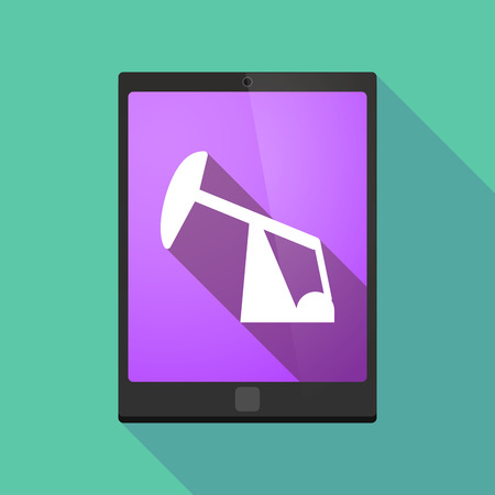 horsehead pump: Illustration of a long shadow tablet pc icon with a horsehead pump
