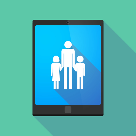 single parent: Illustration of a long shadow tablet pc icon with a male single parent family pictogram