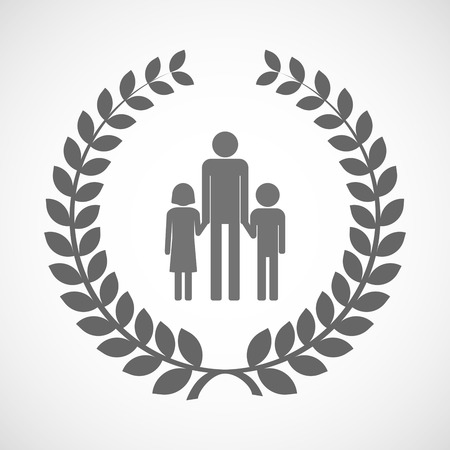 single parent family: Illustration of an isolated laurel wreath icon with a male single parent family pictogram Illustration