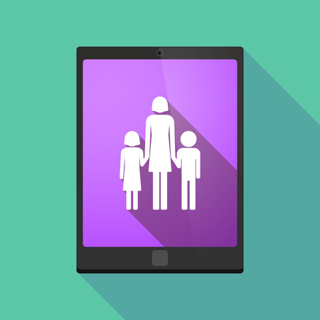 single family: Illustration of a long shadow tablet pc icon with a female single parent family pictogram