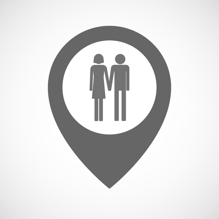 heterosexual: Illustration of an isolated map marker with a heterosexual couple pictogram