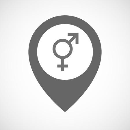 sex discrimination: Illustration of an isolated map marker with a bigender symbol