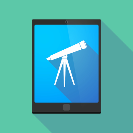 computer screen: Illustration of a long shadow tablet pc icon with a telescope Illustration