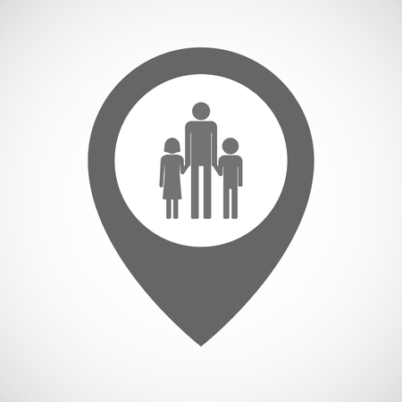 single parent: Illustration of an isolated map marker with a male single parent family pictogram