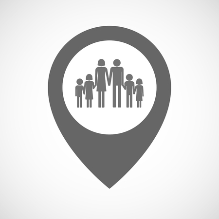 large family: Illustration of an isolated map marker with a large family  pictogram Illustration