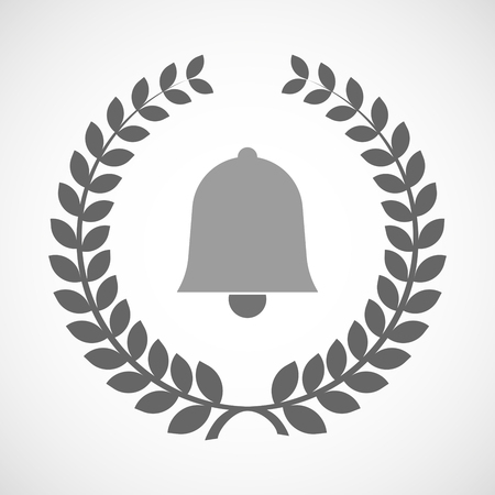 alert ribbon: Illustration of an isolated laurel wreath icon with a bell