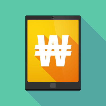 won: Illustration of a long shadow tablet pc icon with a won currency sign