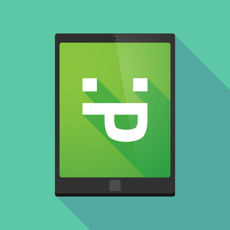 long tongue: Illustration of a long shadow tablet pc icon with a sticking out tongue text face