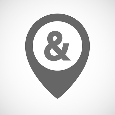 ampersand: Illustration of an isolated map marker with an ampersand Illustration