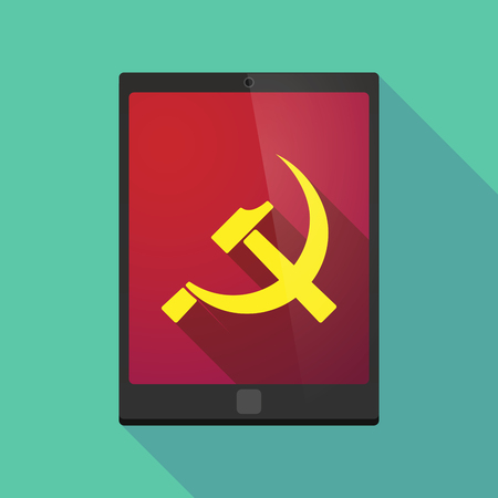 communist: Illustration of a long shadow tablet pc icon with  the communist symbol Illustration