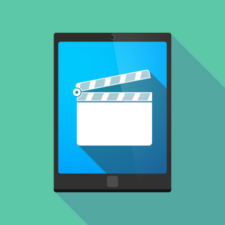 pc icon: Illustration of a long shadow tablet pc icon with a clapperboard Illustration