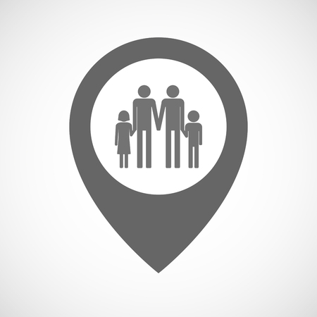 position d amour: Illustration of an isolated map marker with a gay parents  family pictogram