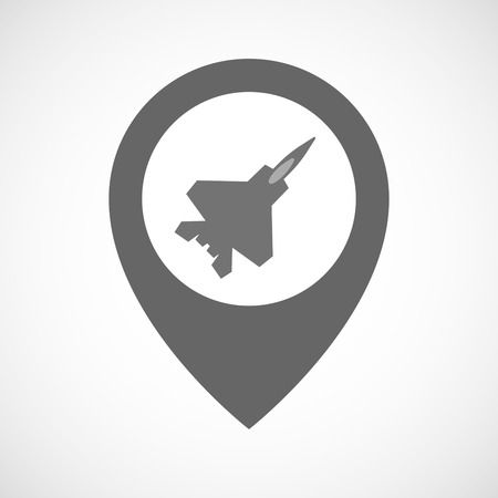 combat: Illustration of an isolated map marker with a combat plane Illustration