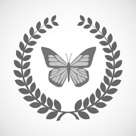 butterfly isolated: Illustration of an isolated laurel wreath icon with a butterfly