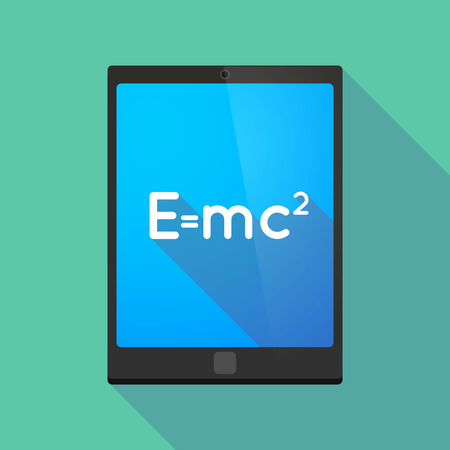 the theory of relativity: Illustration of a long shadow tablet pc icon with the Theory of Relativity formula Illustration