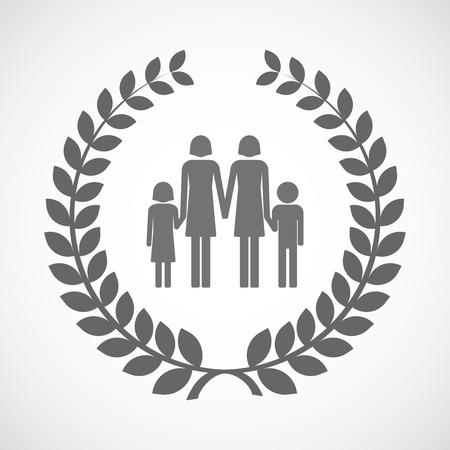 Illustration d'une icône de couronne de laurier isolé avec un pictogramme des parents de famille lesbienne