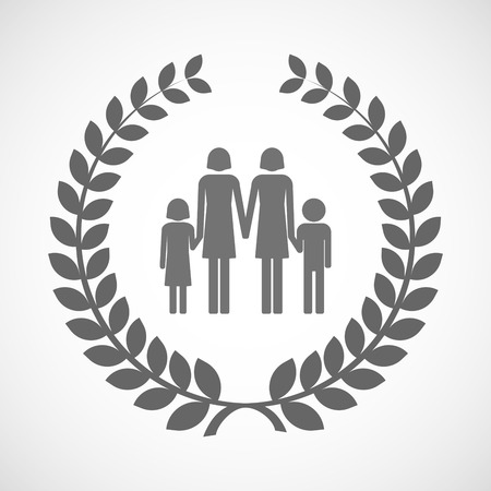 honour: Illustration of an isolated laurel wreath icon with a lesbian parents family pictogram