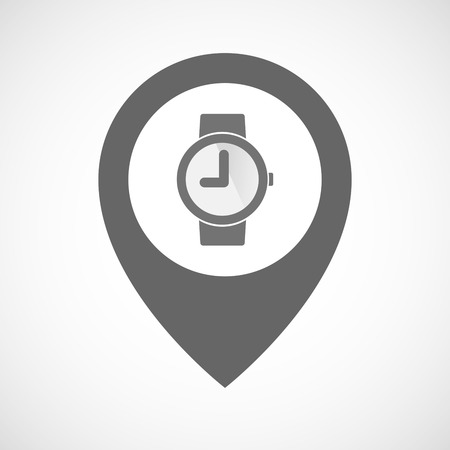 wrist: Illustration of an isolated map marker with a wrist watch Illustration